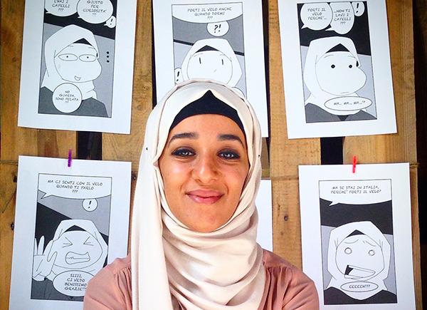 Takoua Ben Mohamed, illustratrice, autrice di Sotto il velo, edizioni Beccogiallo