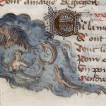 Detail of a miniature of a mermaid and a fish. Origin:France, Central (Paris) and England.
