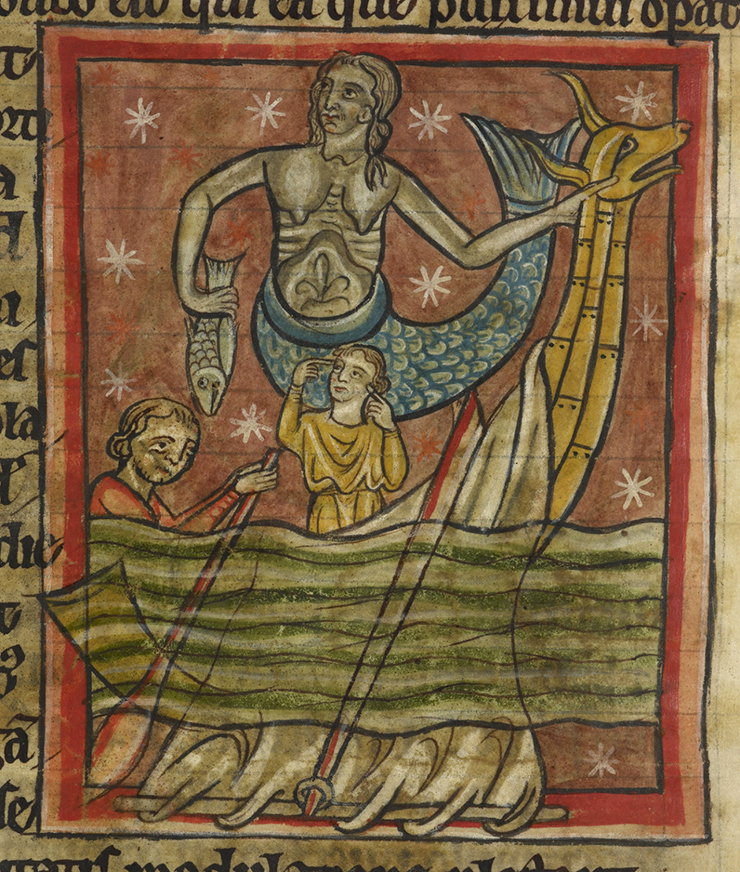 A Siren, portrayed with a fish's tail like a mermaid