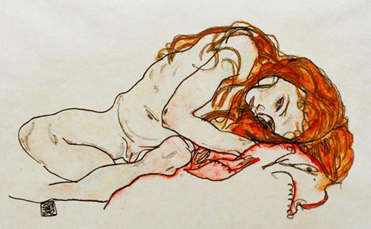 Egon Schiele | ragazza nuda accovacciata