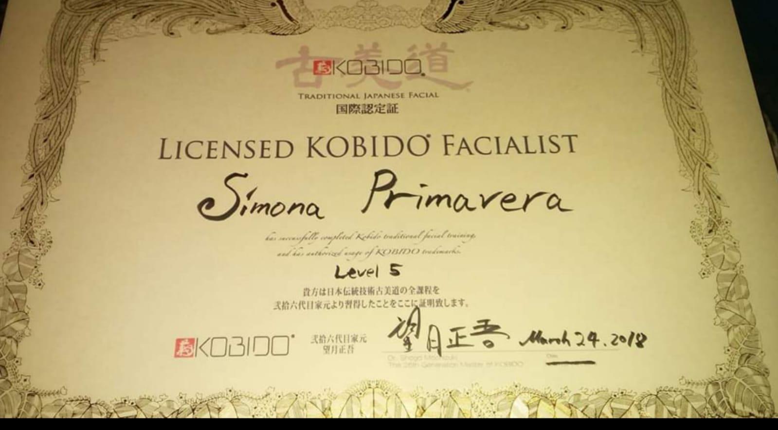 certificato V livello Kobido