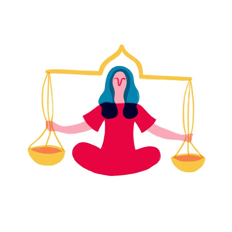 Bilancia Yoga & Oroscopo by Costanza Coletti Illustration