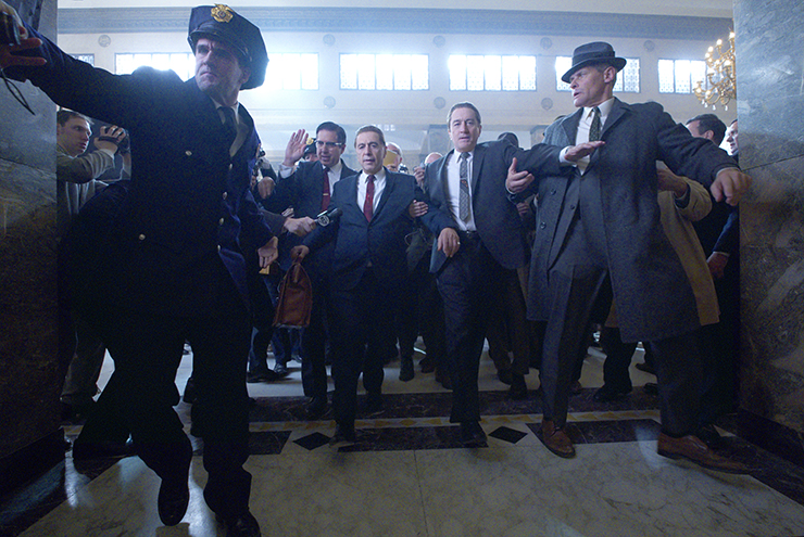 The Irishman (2019) di Martin Scorsese | Ray Ramano (Bill Bufalino), Al Pacino (Jimmy Hoffa), Robert De Niro (Frank Sheeran)