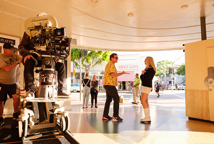 Quentin Tarantino and Margot Robbie on the set of Once Upon a Time in Hollywood