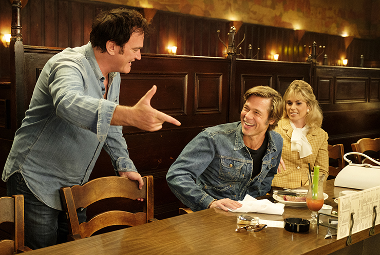 Quentin Tarantino and Brad Pitt on the set of Once Upon a Time in Hollywood (woman in shot: Elise Nygaard Olson)