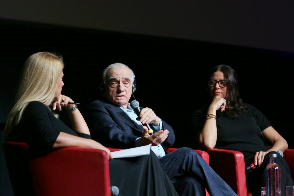 """Martin Scorsese and Emma Tillinger Koskoff attend the press conference of the movie """"The Irishman"""" during the 14th Rome Film Festival on October 21, 2019 in Rome, Italy 