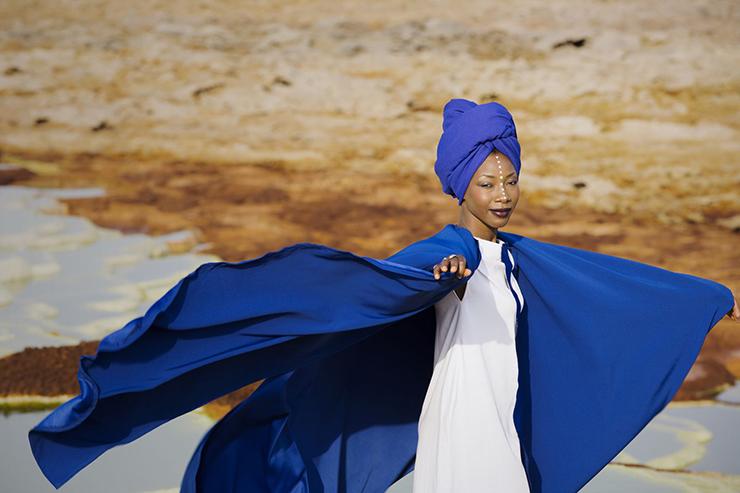 Fatoumata Diawara | Aida Muluneh Fatu Blue Dress Cracked Earth