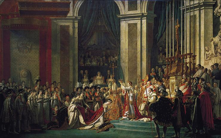 """""""L'incoronazione di Napoleone"""", un dipinto a olio su tela (610x970 cm) realizzato tra il 1805 e il 1807 dal pittore Jacques-Louis David"""